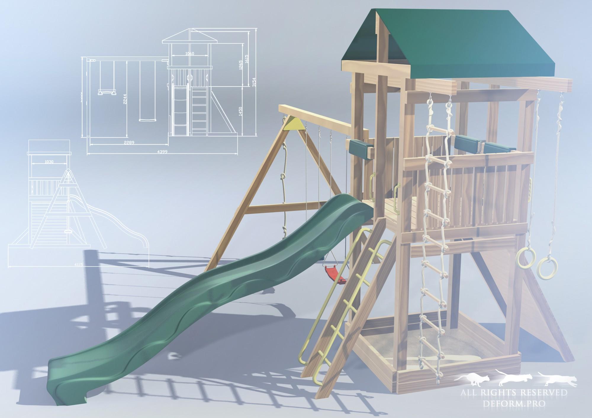 3D дизайн. Детская площадка по чертежам и схемам
