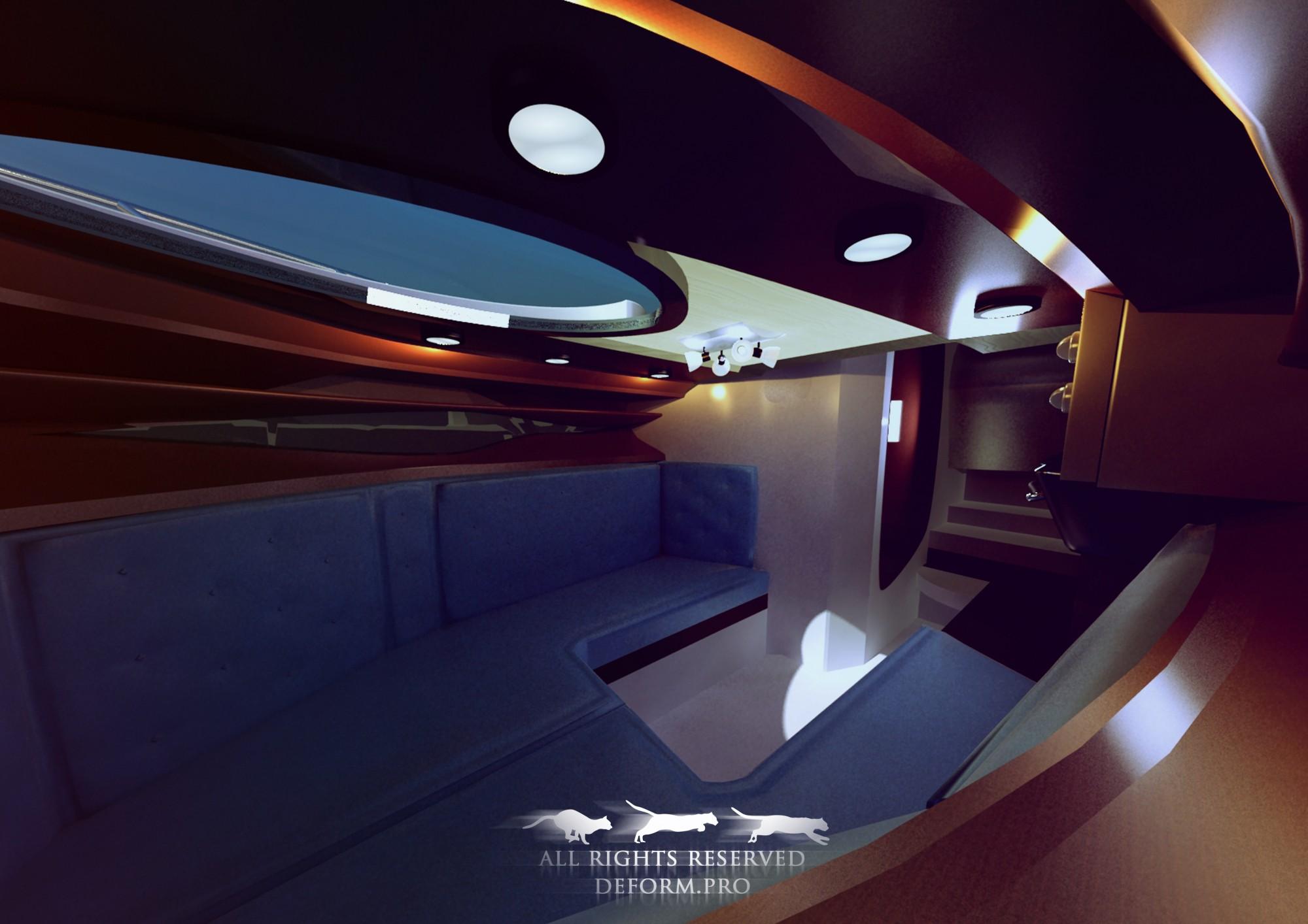 3D дизайн. Концепция лодки. Интерьер