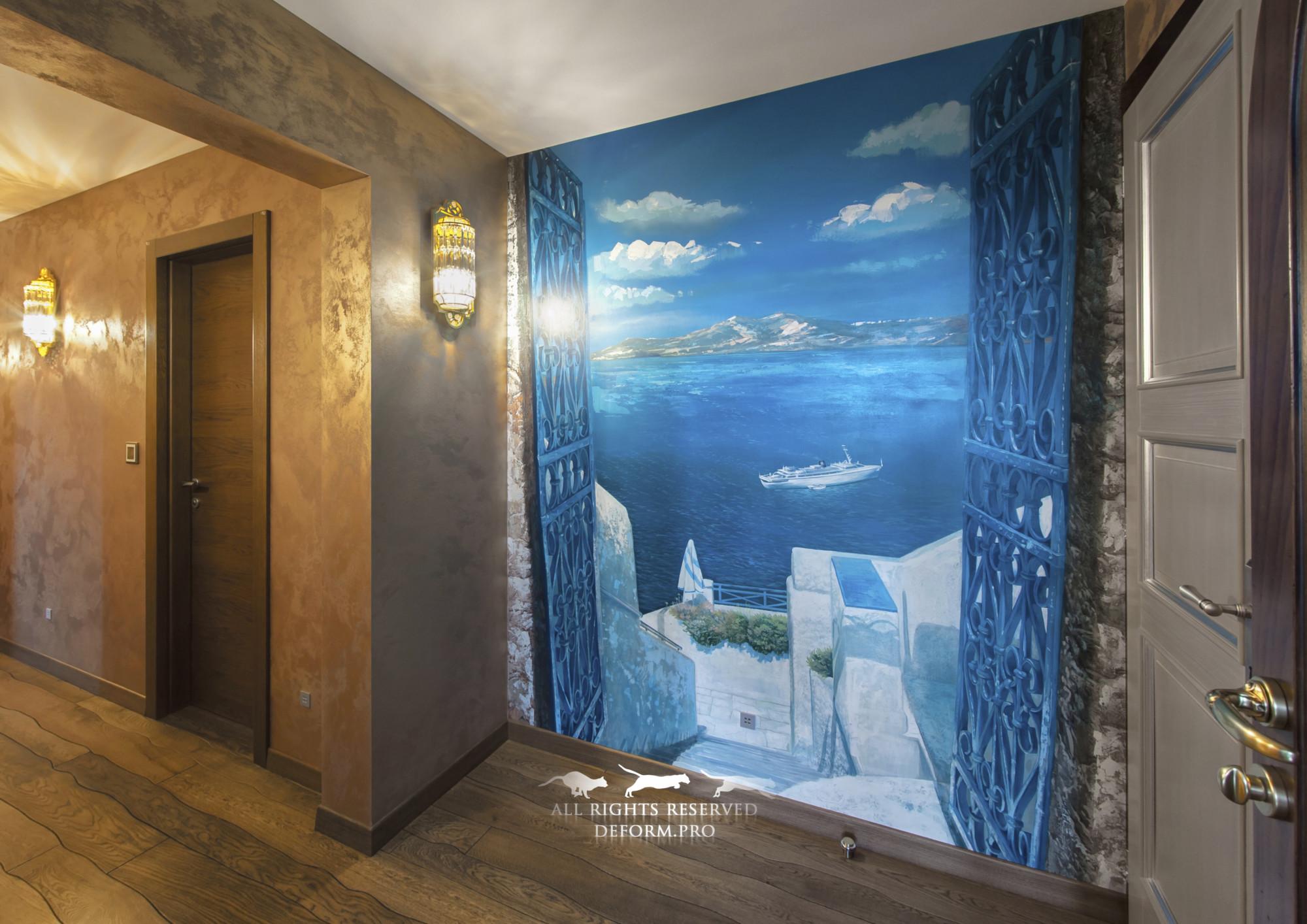 Роспись интерьера. Обманка. Греция. Вид на море