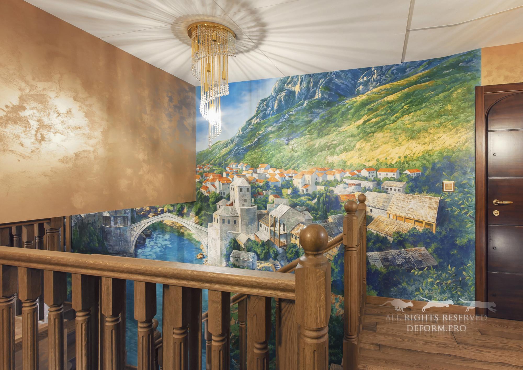 Роспись интерьера. Панорама старого города